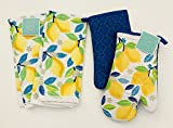 lemon oven mitt - Set Of 2 Kitchen Towels | Set Of 2 Oven Mitts | Bright Yellow Lemon Design With Green & Blue Leaves | 100% Cotton | Kitchen Towel Measures 15 x 25 inches | Oven Mitts Measure 7 x 12 inches
