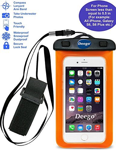 Universal Waterproof Case, Cell Phone Dry Bag pouch with Lanyard Armband for Swimming Boating Surfing for iPhone 7,7 Plus,6,6 plus,5,5S,Samsung Galaxy S7,HTC,LG, up to 6.0 inch(orange)