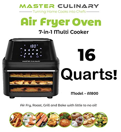 Master Culinary Air Fryer Oven A-1800 16 Quarts – Largest in the Market 7 in 1 Multi Cooker FDA Approved Free Mobile App and Recipe Book Included Rapid Air Technology Digital Display, Slick Design, Ultra Quiet, 8 Preset Programs, 1800W, 1 Year Warranty 2019 Model