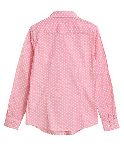 Dioufond® Camisas Mujer Manga Larga Estampada de Lunares Rosa