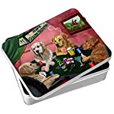 Home of Golden Retrievers 4 Dogs Playing Poker Photo Tin