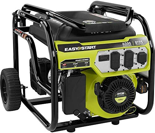 Ryobi Portable Generator 6,500-Watt Gasoline Powered Shutdown Sensor Muffler