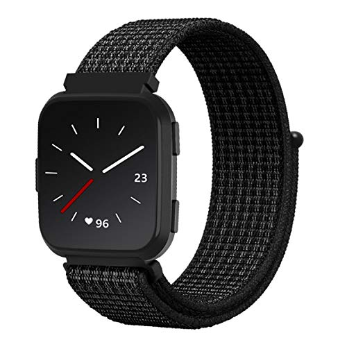 Wingle for Fitbit Versa Bands, Nylon Velcro Replacement Strap Wristband with Hook-and-Loop Fastener for Fitbit Versa Smart Watch, Reflective Black