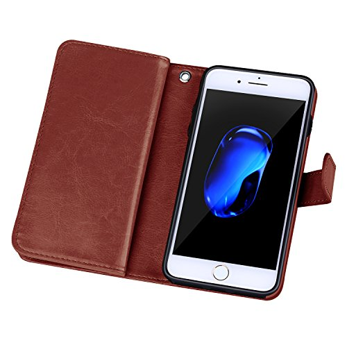 """iPhone 7 Case, DRUnKQUEEn TM Wallet PU Leather Flip Card Holder Clutch Purse, 2 in 1 Detachable Magnetic Back Cover for iPhone7(4.7"""")"""