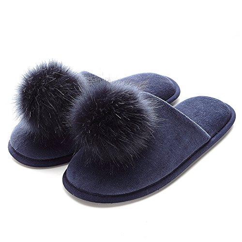 Women's Home Slippers Pom Ball Foam Slippers Puffer Slippers Comfort Cute Velvet Navy Blue Memory Cozy rqCrwfP