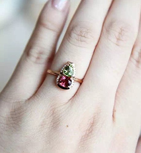1.91 Carat Rhodolite Garnet And Tourmaline Engagement Ring In 14K Rose Gold