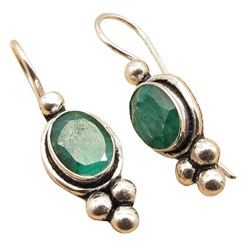 925 Silver Plated Oval Shape Gemstone Comfort Fit Hook Earrings! Handmade Wholesale Indian Jewelry