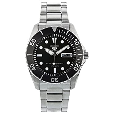 Seiko 5 Black Dial Stainless Steel Automatic Mens Watch SNZF17