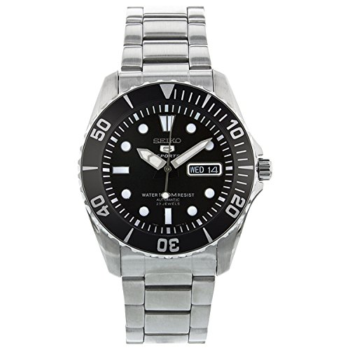 Seiko-5-Black-Dial-Stainless-Steel-Automatic-Mens-Watch-SNZF17