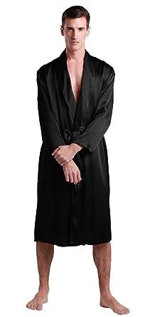 02458ad49039f LilySilk Mens Silk Robe 22 Momme with Belt Long Sleeve Medium Style V Neck  100%