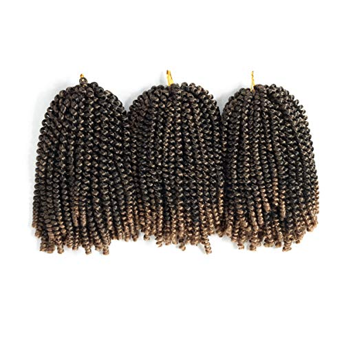 Spring Twist 3PCS Crochet Braids Synthetic Hair 8 Inch Jumbo Twist Braiding Hair Extensions (3pc, T1B/27#)