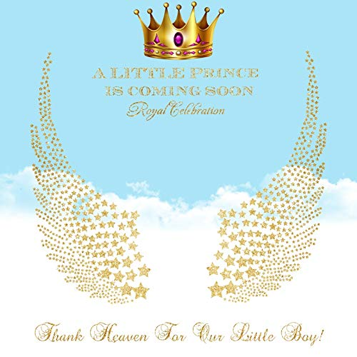 Baocicco 6.5x6.5ft Vinyl Backdrop Baby Shower Royal Celebration Photography Background Gold Stamping Star-Shape Angel Wings Golden Crown Prince Newborn Party Baby Boy Portrait Photo Studio -