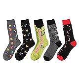 GOKKO NEW Mens Cotton Socks Fish Wine Glasses Skulls Billiards Letter J Novelty Funny Sock 8-13 (5 pairs(Multi Color))