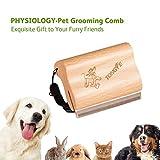 TONGYE Pet Grooming Comb Brush De-Shedding Tool with Ergonomic Design Wooden Handle-Adjustable Strap for Medium Adult Dog Cat