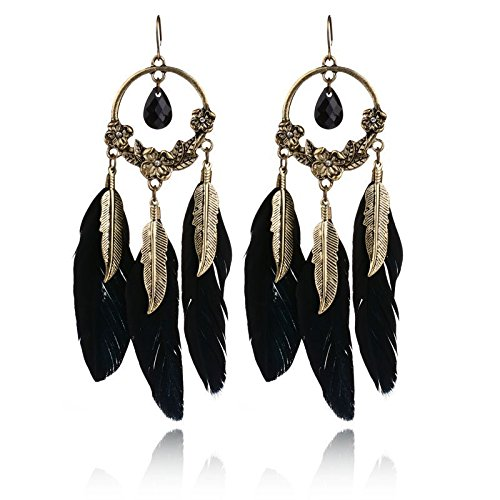 Carfeny Bohemian Black Feather Tassel Dangle Earrings Vintage Gold Plated Hallow Out Chandelier Drop Earrings for Women