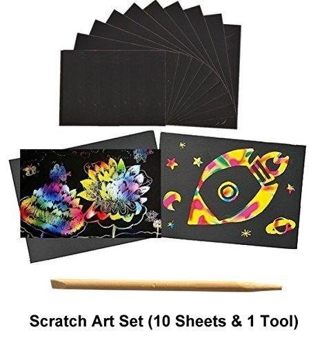 A4 Rainbow Scratch Art Set Colour Craft Art Engraving Paper (10 Sheets & Wooden Scratch Pen) Habercrafts