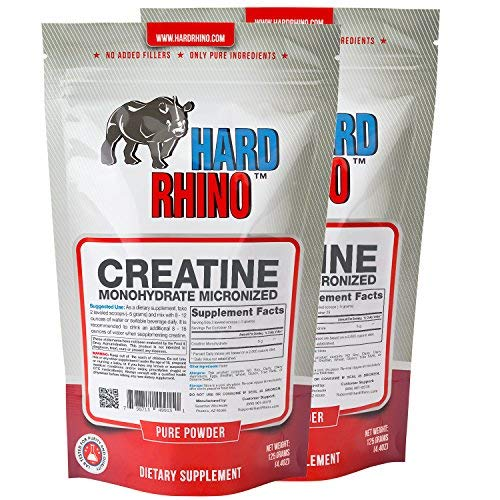 Hard Rhino Creatine Monohydrate Micronized Powder, 250 Grams (8.8 Oz), Unflavored, Lab-Tested, Scoop Included