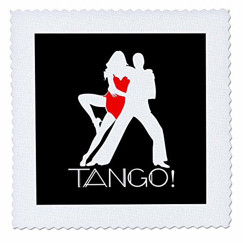 3dRose Alexis Design - Dance - Tango affirmation. White male red female silhouettes on black - 18x18 inch quilt square (qs_272516_7) by 3dRose (Image #1)