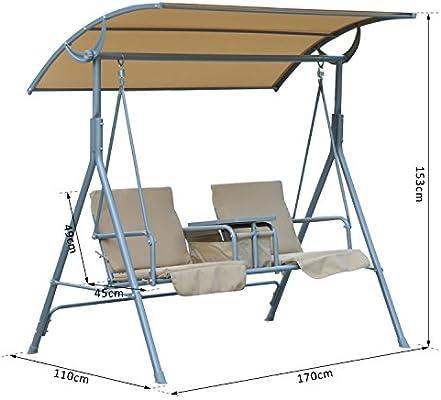 Outsunny – Balancín columpio de jardín terraza 2 plazas parasol ajustable cesta Beige Neuf 28: Amazon.es: Jardín