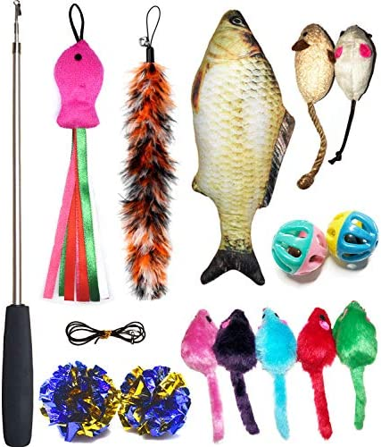 PETOY Cat Toys Set, Cat Retractable Teaser Wand, Catnip Fish, Interactive Cat Feather Toy, Mylar Crincle Balls, Two Cotton Mice, Two Fluffy Mouse 2