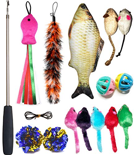 Cat Toys Set, Cat Retractable Teaser Wand, Catnip Fish, Interactive Cat Feather Toy, Mylar Crincle Balls, Two Cotton Mice, Four Fluffy Mouse