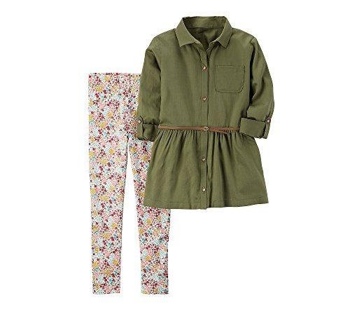 Cotton Set Legging Floral (Carter's Girls' 2T-4 Multi Floral Leggings Set 7)