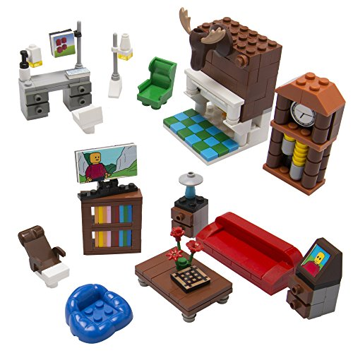 Brick Building Living Room Set for Your Dream House - 14 Build-Your-Own Furniture Pieces - Tight Fit with All Sets (Furnitures Brick)