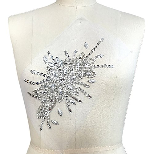 Exquisite Uniquely Pure Handmade Bright Crystal Patches Sew-on Rhinestones Applique with Stones Sequins Beads for Wedding Dress DIY Manual Accessories Belt Chest Waist Decoration (Silver)