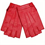 Warmen Women's Nappa Genuine Leather Half Finger Mittens Snap Closure (XL, red)