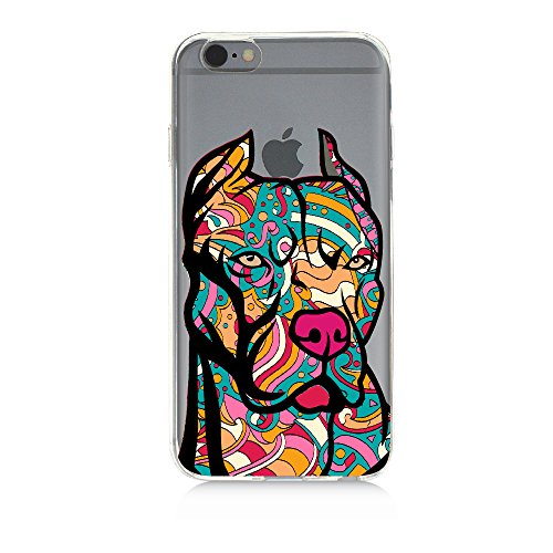 Pop Art Pit Bull Tattoo Design Dog Face Clear TPU Case For iPhone and Samsung - Samsung Galaxy s5