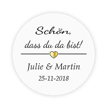 48x Personalisiert Gold Herz Hochzeitssticker Schön Dass Du Da Bist Goldene Hochzeit Aufkleber 4 Cm Runde Papieraufkleber Etiketten Für