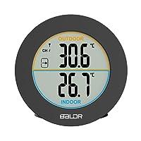 Forme Ronde Sans Fil Thermomètre Table Thermomètre Intérieur Extérieur Sans Fil Affichage LCD En De Température Et Horloge Digital Thermomètre Maison Cuisine Bureau Wall Temperature Meter Sensor