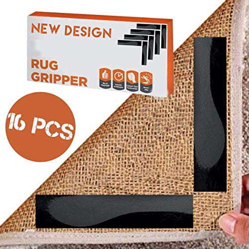 Non Slip Rug Pad Grippers Carpet Gripper Double Sided Anti Slip Adhesive Carpet Tape Runner Grippers for Furniture Hallway Small Pads Rugies for Hardwood Floors Non Skid Area Corners