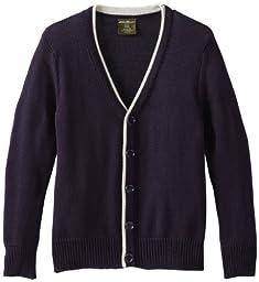 Eddie Bauer Big Boys Classic Cardigan Sweater, Navy,10/12