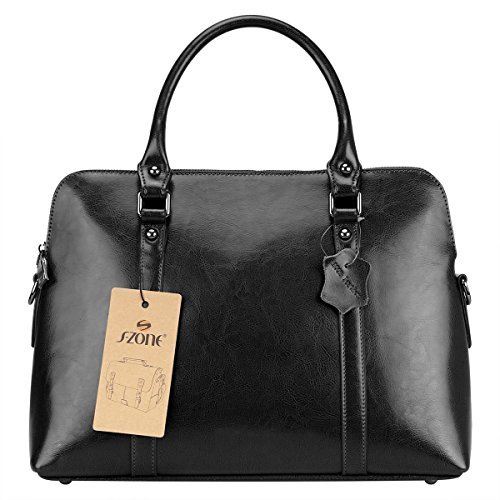 S-ZONE-Womens-Genuine-Leather-Handbags-Briefcase-Purse-Shoulder-Bags-Tote-Bags