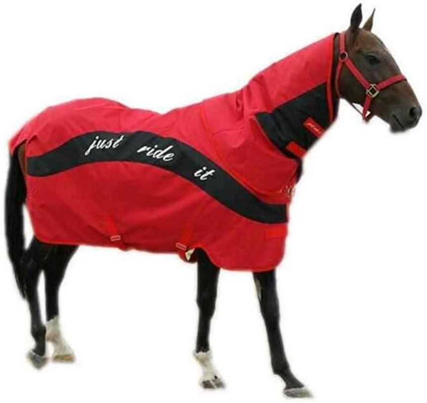 LGFV Silla de Montar Manta de Caballo Abrigo de Caballo Impermeable a Prueba De Viento Resistente a La Rotura Cuello Desmontable, Rojo