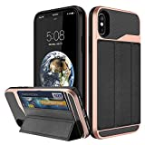 iPhone X 10 Case, Flip Leather Wallet Cover, Kickstand, ID Card Slot Hard Hybrid Hidden Pocket (iPhone X 10, Rose Gold)