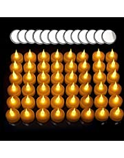 Untyo LED Candles 48 Pack Battery Operated Candles Extra 20 Batteries Tea Lights Candles to Create a Warm Ambiance Naturally Flickering Bright Tea Lights Unscented Batteries Included(Warm White)
