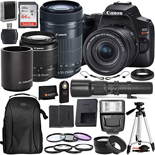 Canon EOS Rebel SL3 DSLR Camera (Black, 3453C002) with 18-55 is STM, 55-250mm is STM, 500mm Preset with T-Mount Adapter & Must Have Bundle: Includes - SanDisk Ultra 64GB SDXC Memory Card + More