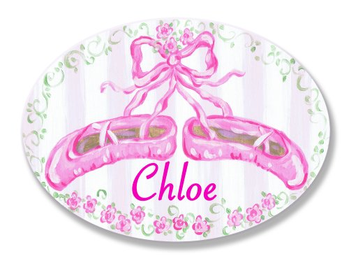 The Kids Room by Stupell Chloe, Pink Ballet Slippers Personalized Oval Wall Plaque