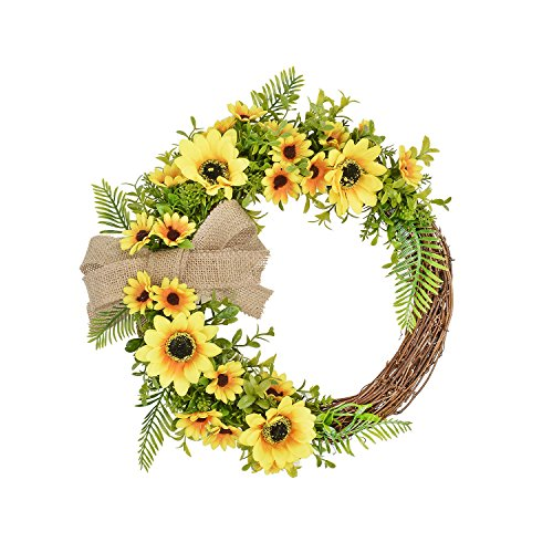 Wall Festival (FAVOWREATH 2018 Vitality Series FAVO-W63 Handmade 14 inch Yellow Sunflower Grass Grapevine Wreath Spring/Summer/Fall Festival Front Door/Wall/Fireplace Hanger Home Natural Decor (14 inch))