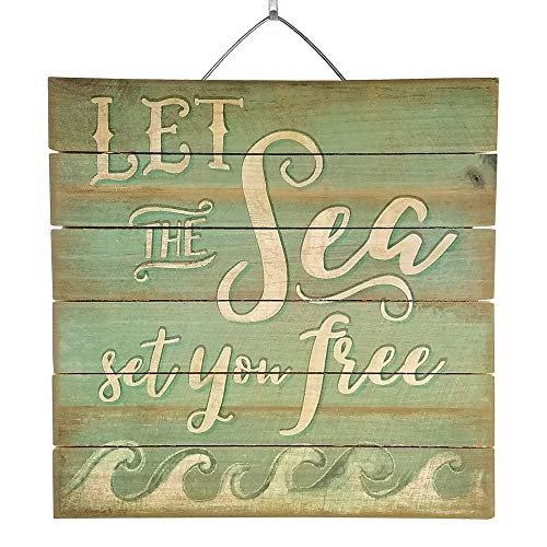 Imprints Plus Let The Sea Set You Free Inspirational Distressed Wood Sign, 12