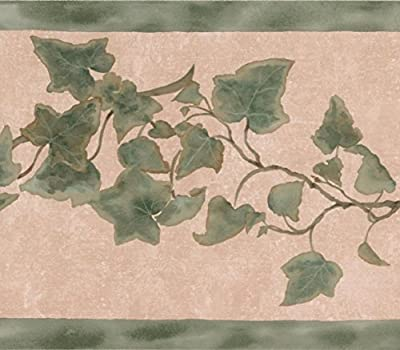 Green Leaves on Vine Beige Floral Wallpaper Border Retro Design, Roll 15' x 7''