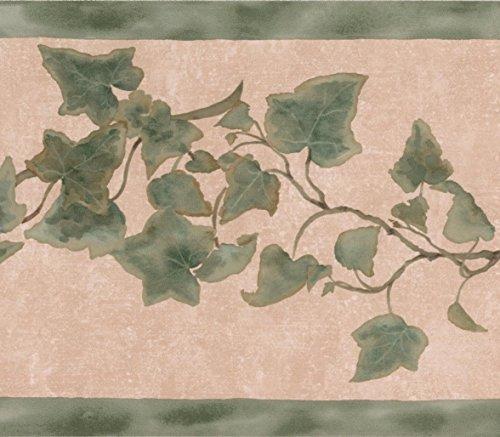 (Green Leaves on Vine Beige Floral Wallpaper Border Retro Design, Roll 15' x 7'')