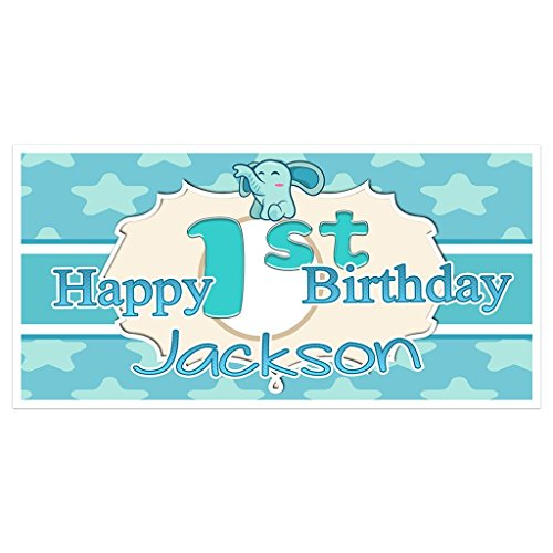 (Elephant Stars First Birthday Banner Personalized Backdrop)