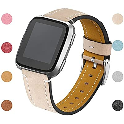 bayite Bands For Fitbit Versa, Slim Genuine Leather band Replacement Accessories Strap for Versa Women Men