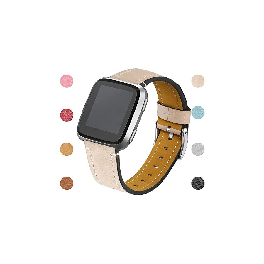 "bayite Bands Compatible Fitbit Versa, Slim Genuine Leather Band Replacement Accessories Strap Versa Women Men (5.3"" 7.8"")"