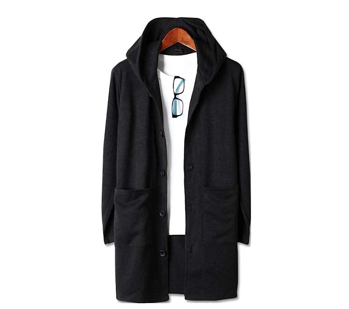 Mens Premium Basic Knit Long Hood Button Knit Cardigan Sweater Jumper