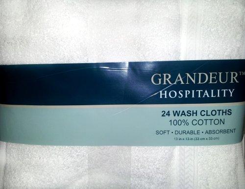 Grandeur Hospitality 100% Cotton Wash Cloths 24 Pack from Grandeur