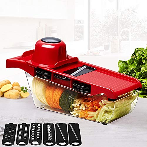 Best Quality - Shredders & Slicers - Mandoline Slicer Vegetable Cutter with Stainless Steel Blade Manual Potato Peeler Carrot Cheese Grater Dicer Kitchen Tool - by SeedWorld - 1 PCs